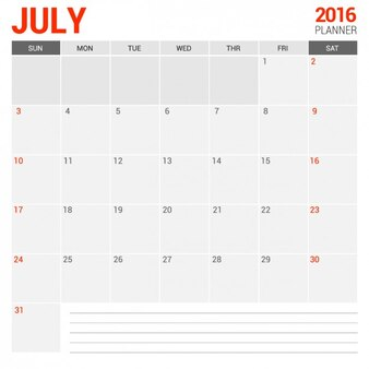 July Monthly Calendar 2016
