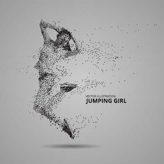 Jumping girl silhouette