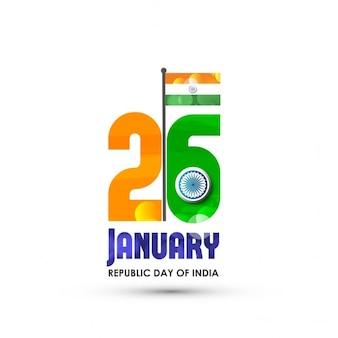 アショカホイールでクリエイティブインドの旗の色テキスト1月26日