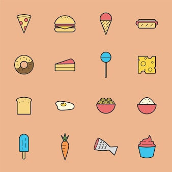 Junk food icon collection