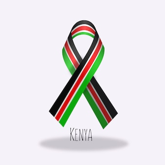 Kenya flag ribbon design
