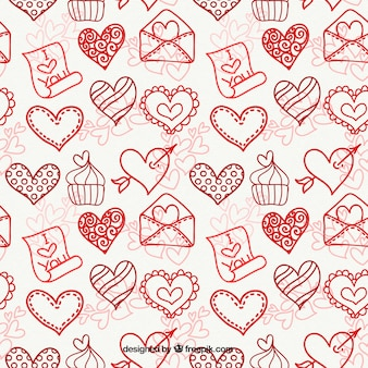 Ketches of hearts with cupcake and envelope pattern