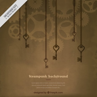 Keys hanging steampunk background