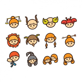 Kid faces icons collection