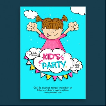 Kid's party invitation with happy girl