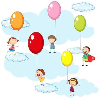 Kids and colorful balloons in sky illustration