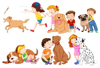 Kids and their pet dogs illustration