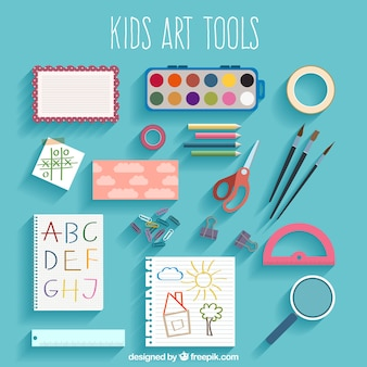 Kids art tool collection in top view