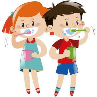 子供たちは自分の歯を磨きます