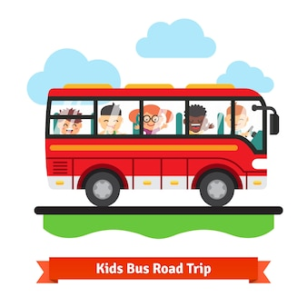 Kids bus road trip