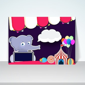 Kids Carnival poster, banner design with illustration of cute elephant and other elements