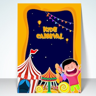 Kids Carnival template, Amusement Park banner, Funfair flyer design with illustration of cute boy, circus tent and swing ride