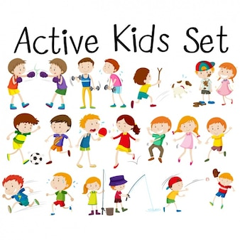 Kids doing activities set
