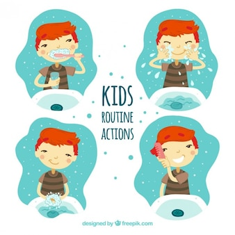 Kids doing routine actions illustrations