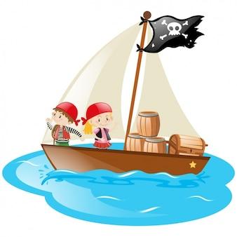 Kids in a pirate boat