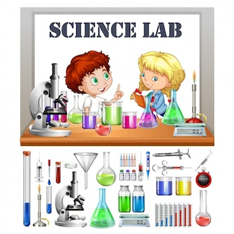 Kids in the science lab