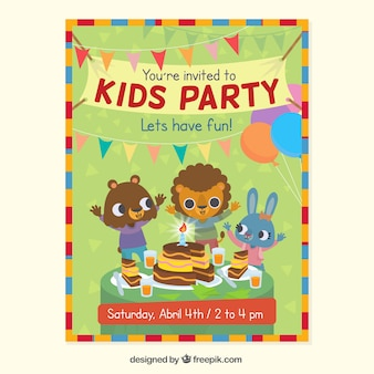 Kids party invitation with animals