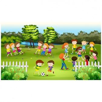 Kids playing background design