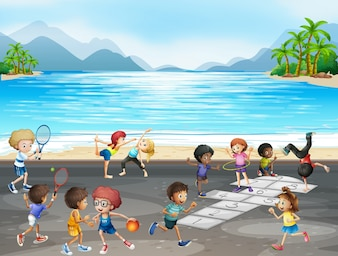 Kids playing different kinds of sports by the sea