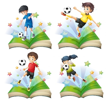 Kids playing soccer in books