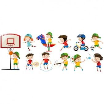 Kids practising sport
