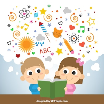Kids reading a imaginative book
