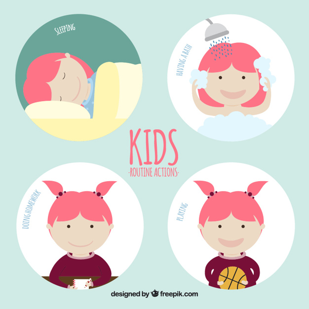 Kids routine actions design
