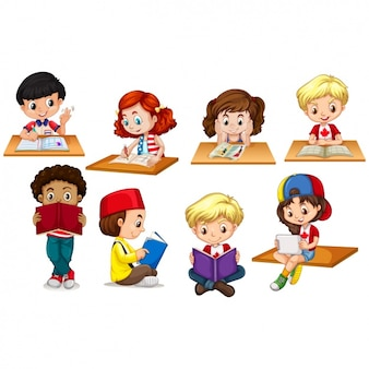 Kids studiyng collection