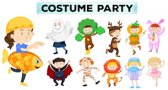 Kids wearing different party costumes