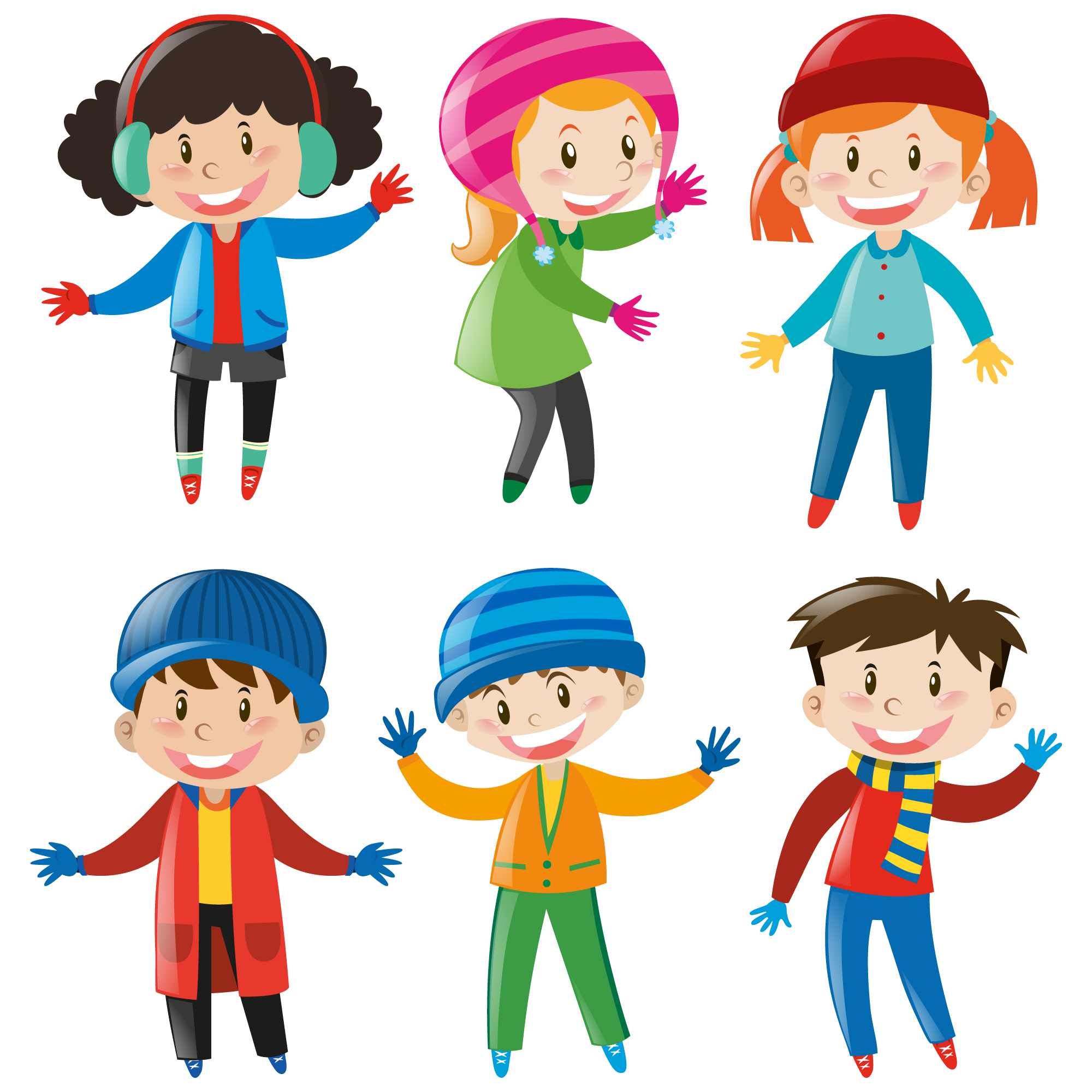 Kids wearing winter clothes collection