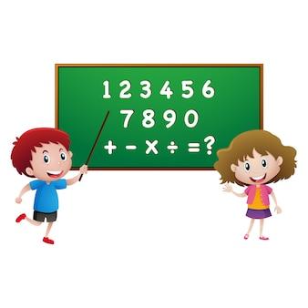 Kids with a blackboard design