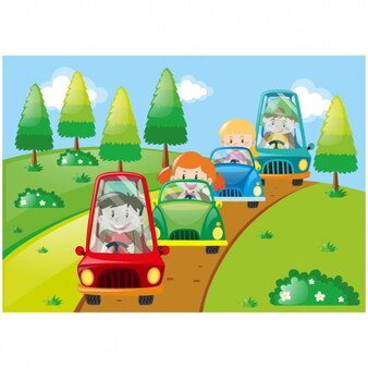 Kids with cars background design