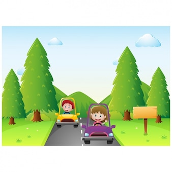 Kids with cars background
