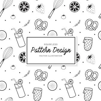 Kitchen elements pattern background
