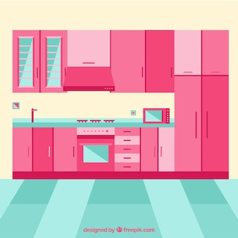 Kitchen interior with pink furniture