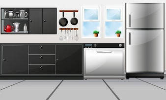 Kitchen room with utensils and electronic appliances illustration