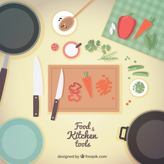 kitchen tools and food