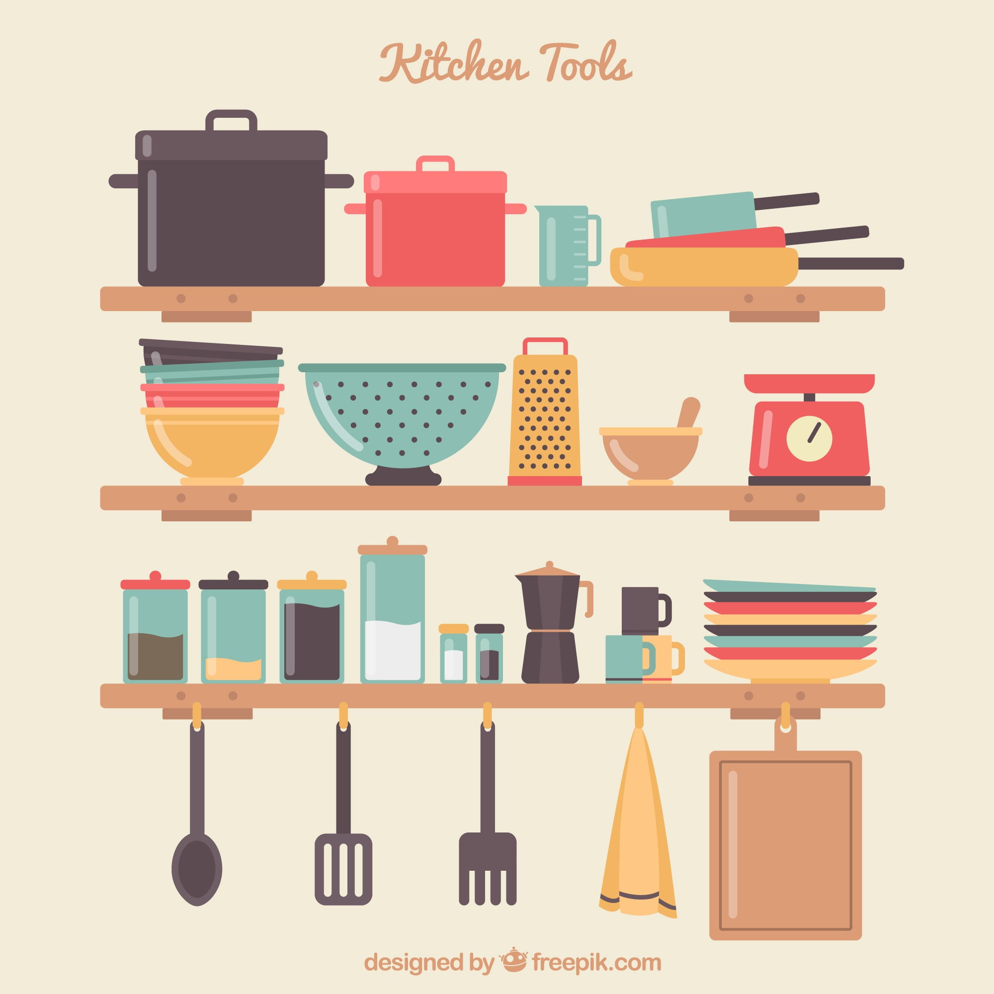 Kitchen tools on shelves