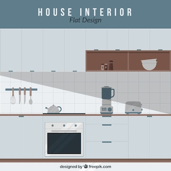 Kitchen with electrical appliances in flat design