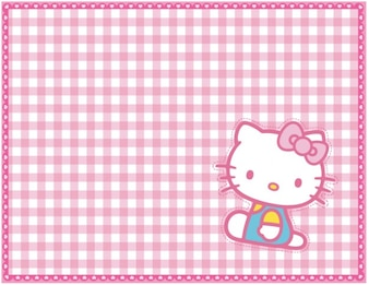 Kitty grid pink pattern vector background