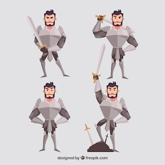 Knight character set with armor