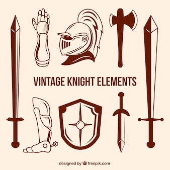 Knight elementswith vintage style