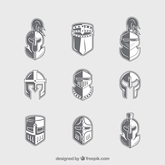 Knight helmets with flat design