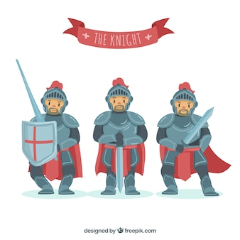Knight in armor in different positions