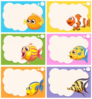Label design with cute fish illustration