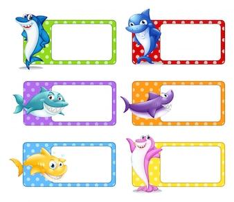 Label design with shark illustration