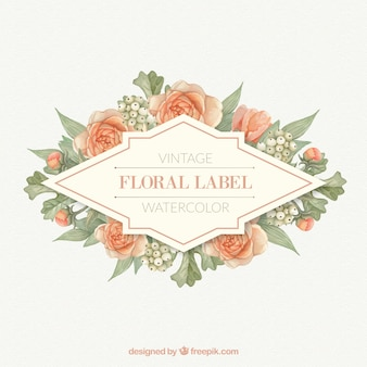 Label with flowers and leaves in orange tones