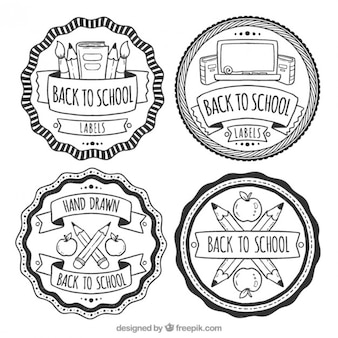 Labels in black and white for back to school, hand drawn