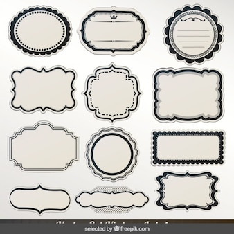 Labels with black outline collection