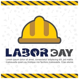 Labor day background with a yellow helmet